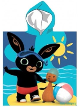 Dětské bavlněné pončo osuška s kapucí zajíček Bing - modré