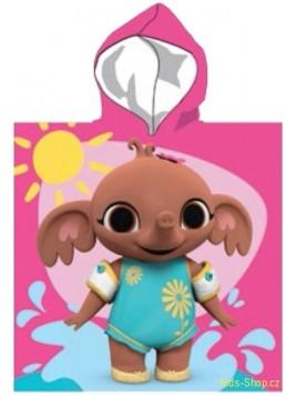 Dětské bavlněné pončo osuška s kapucí zajíček Bing, Sula, Flop - růžové