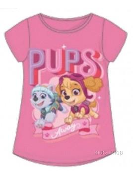 Dievčenské tričko s krátkym rukávom Tlapková patrola Skye a Everest - sv. ružové