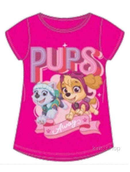 Dívčí tričko s krátkým rukávem Tlapková patrola Skye a Everest - tm. růžové