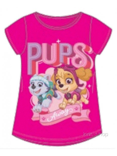 Dievčenské tričko s krátkym rukávom Tlapková patrola Skye a Everest - tm. ružové