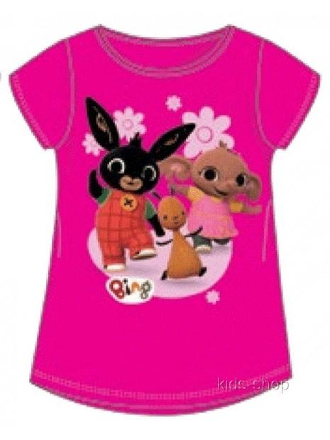 Dívčí tričko s krátkým rukávem zajíček Bing - tm. růžové