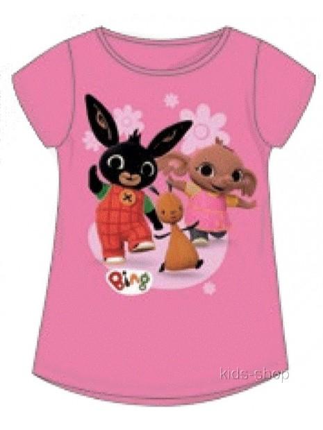 Dievčenské tričko s krátkym rukávom zajačik Bing - sv. ružové
