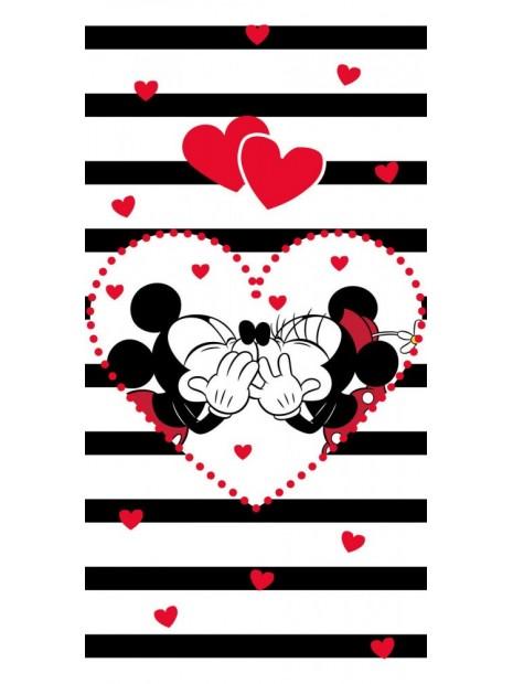 Bavlněná osuška Mickey a Minnie ❤ (Disney) - pruhy