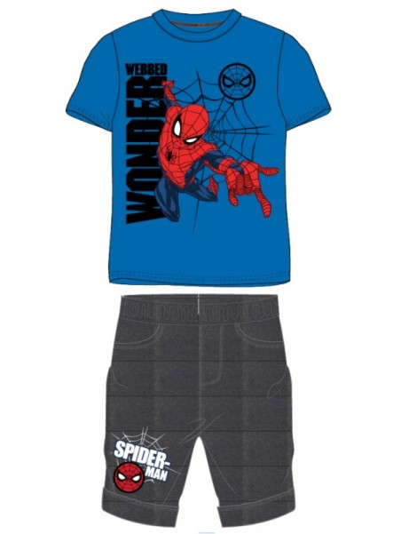 Chlapčenská letná súprava Spiderman - modrá