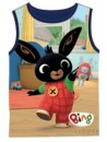 Krásne chlapčenské tričko bez rukávov vyrobené zo 100% bavlny s motívom zajačik Bing. Prednú stranu zdobí obrázok zajačika Binga, zadná strana je tmavo modrá.