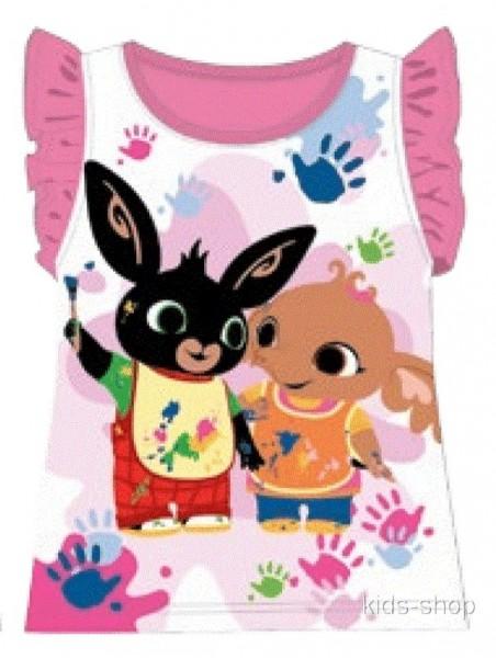 Dívčí bavlněné tričko / tílko zajíček Bing - tm. růžové