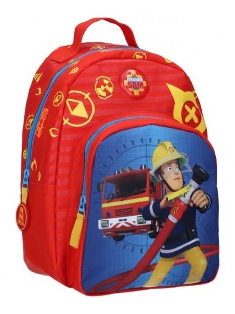 Detský batoh s predným vreckom Požárník Sam - červený
