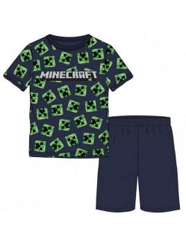 Chlapecké letní pyžamo Minecraft - tm. modré