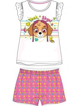 Letní dívčí pyžamo s krátkým rukávem Tlapková patrola - Skye - bílé