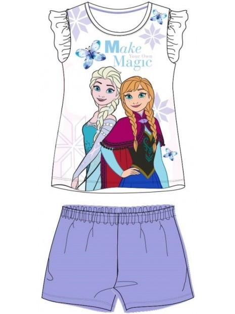 Letní dívčí pyžamo s krátkým rukávem Ledové království Elsa a Anna - fialové