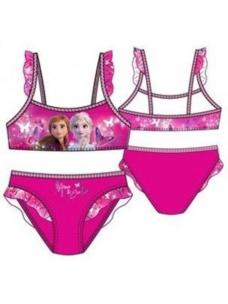 Dievčenské dvojdielne plavky Ľadové kráľovstvo - tm. ružové