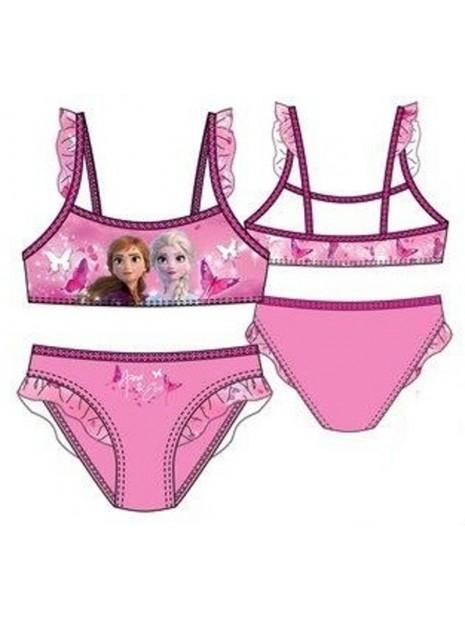 Dievčenské dvojdielne plavky Ľadové kráľovstvo - sv. ružové