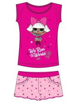 Dievčenské letné set L.O.L. - tričko a šortky - ružový