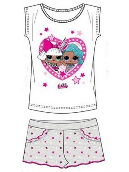 Dievčenský letný set L.O.L. Surprise - tričko a šortky - biely