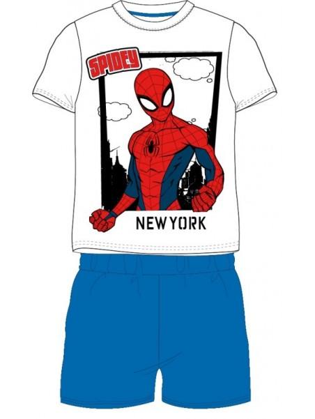 Chlapčenské letné pyžamo Spiderman New York - modré