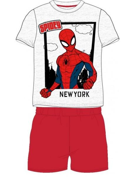 Chlapčenské letné pyžamo Spiderman New York - červené
