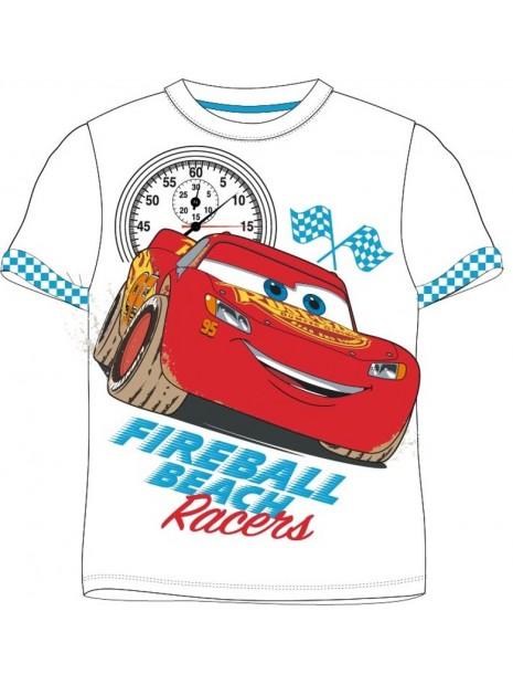 Chlapčenské tričko s krátkym rukávom Autá McQueen 95 - biele