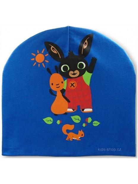 Chlapčenská prechodová čiapka zajačik Bing - modrá
