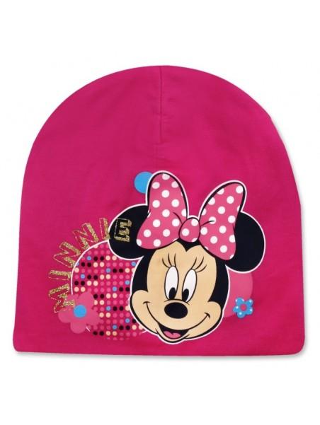 Dievčenská prechodová čiapka Minnie Mouse - tm. ružová