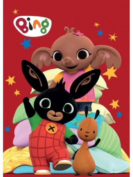 Detská hrejivá fleecová deka zajačik Bing - červená