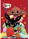 Dětská flísová deka s obrázkem zajíčka Binga Bunny, Flopa a Suly. Je vyrobena z velmi příjemného a měkkého materiálu. Stálost barvy i po mnoha vyprání. Rozměr 100 x 140 cm.