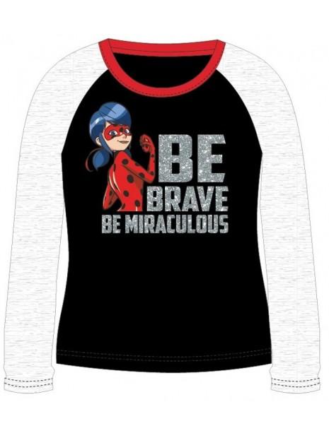 Dievčenské tričko s dlhým rukávom Kúzelná lienka - čierne