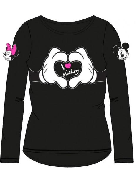 Dievčenské tričko s dlhým rukávom Minnie mouse - čierne