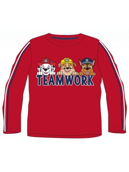 Chlapecké tričko s dlouhým rukávem Tlapková patrola - Team work - červené