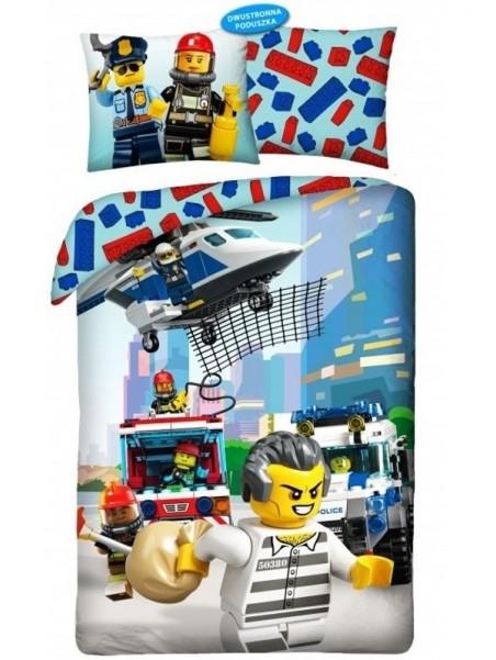 Chlapčenské bavlnené posteľné obliečky LEGO City - väzeň na úteku