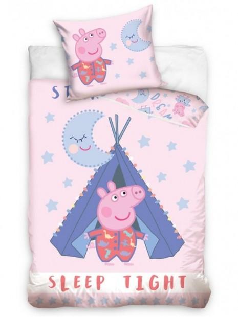 Bavlnené posteľné obliečky do detskej postieľky Prasiatko Pepina v típí