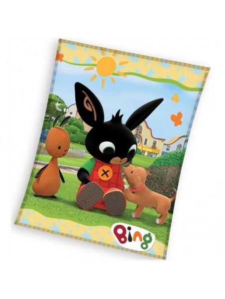 Detská hrejivá fleecová deka zajačik Bing a šteňa