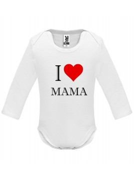 Biele dojčenské body - I love mama