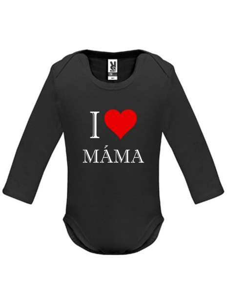 Černé kojenecké body - I love máma