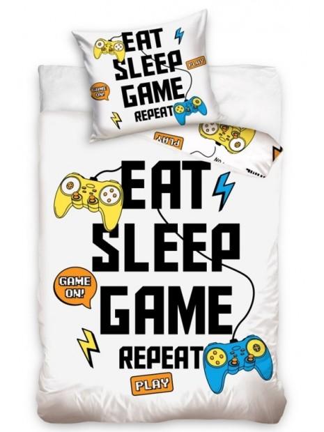 Bavlnené posteľné obliečky EAT SLEEP GAME REPEAT
