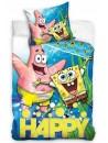 Detské bavlnené obliečky s motívom obľúbenej morskej huby SpongeBob a jeho kamaráta Patricka, na modrom pozadí. Obliečky sú obojstranné, viď. obrázok. Súprava je vyrobená zo 100% bavlny a obsahuje jeden povlak na prikrývku 140 x 200 cm a jeden obliečka na vankúš 70 x 90 cm. Zapínanie na zips. Toto obliečky je opatrené medzinárodným certifikátom kvality Oeko-Tex Standard 100, ktorý zaručuje stálosť farieb i rozmerov a tiež to, že výrobok neobsahuje škodlivé látky. Viac informácií nájdete napr.TU