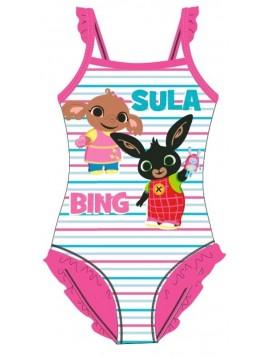 Dívčí jednodílné plavky Zajíček Bing a Sula - růžové
