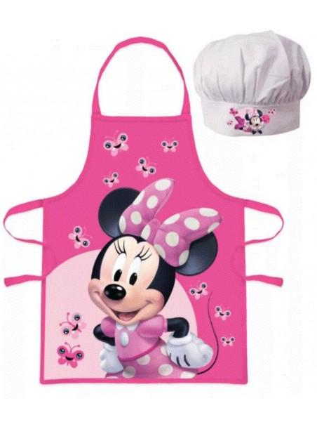 Dětská zástěra a kuchařská čepice Minnie Mouse ❤ motýlci