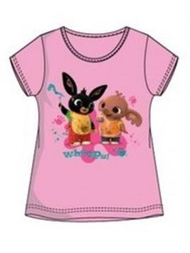 Dívčí tričko s krátkým rukávem zajíček Bing a Sula - sv. růžové