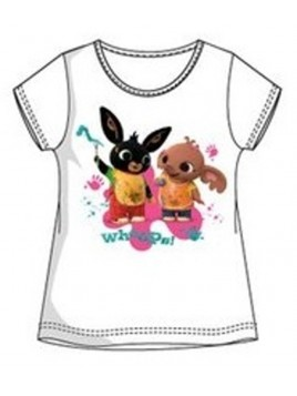 Dívčí tričko s krátkým rukávem zajíček Bing a Sula - bílé