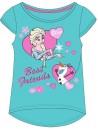 Krásne dievčenské tričko s motívom Ľadového kráľovstva Frozen je vyrobené zo 100% bavlny. Tričko v modrom prevedení zdobí obrázok princezny Elsy a snehuliaka Olafa.