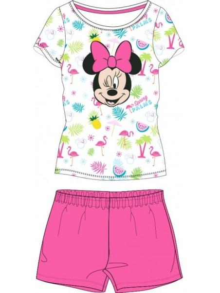 Letní dívčí pyžamo s krátkým rukávem Minnie Mouse - růžové