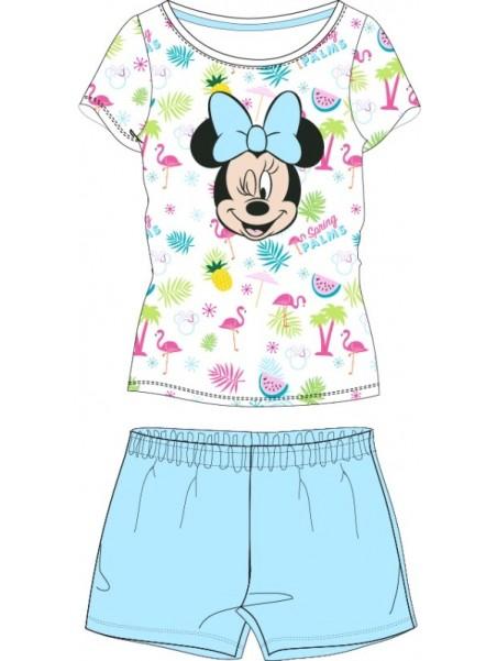 Letní dívčí pyžamo s krátkým rukávem Minnie Mouse - modré