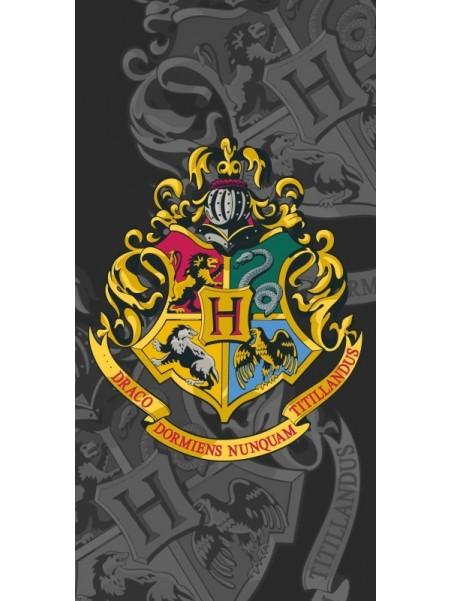 Plážová bavlněná osuška Harry Potter - erb - šedá