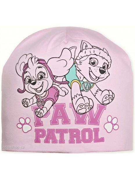 Dívčí přechodová čepice Tlapková patrola - sv. růžová