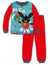 Dětské pyžamo s obrázkem zajíčka Binga v červeném provedení bude vašemu chlapečkovi slušet a zajistí mu pohodlí po celou noc. Je vyrobené z příjemného 100% bavlněného materiálu. Horní díl má kulatý výstřih, dlouhé rukávy . Spodní díl má elastický pas, pružné lemy a pohodlný střih. Baleno v krabičce.