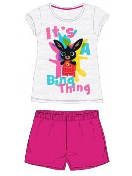 Letní dívčí bavlněné pyžamo zajíček Bing - růžové