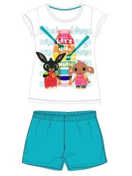 Letní dívčí bavlněné pyžamo zajíček Bing - tyrkysové