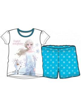Letní dívčí pyžamo s krátkým rukávem Ledové království - bílé