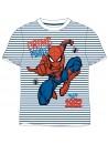 Krásné chlapecké / dětské tričko s krátkým rukávem s motivem Spiderman (MARVEL), je vyrobeno ze 100% bavlny. Tričko má bílou barvu s tmavě modrými pruhy a obrázkem Spidermana.